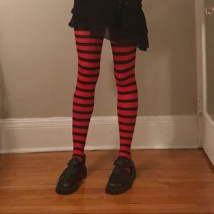 Accessories - Black and Red Striped Tights
